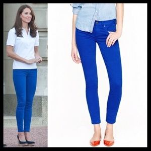 j. crew // toothpick skinny jeans in royal blue